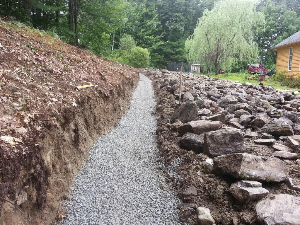 Block Retaining Wall Trench