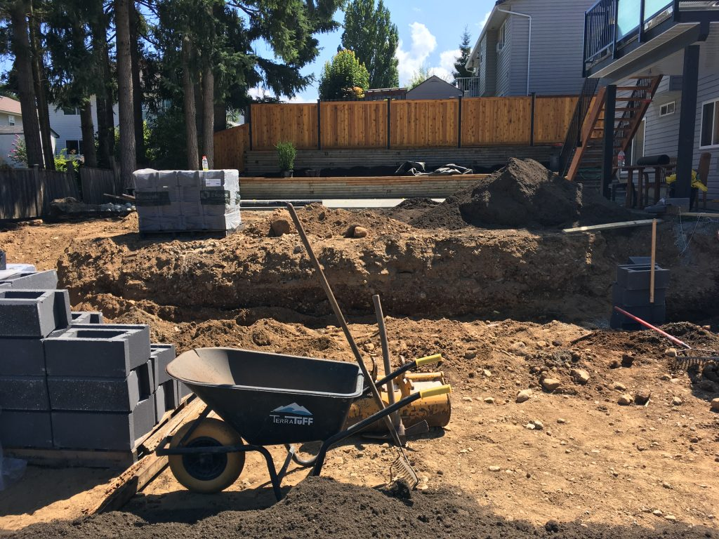 Block Retaining Wall Excavation