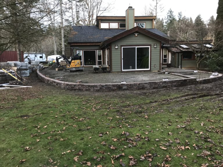 Paver Patio with Wall Before 2